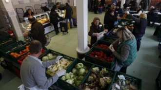 People receive food that is either too old or not looking nice enough for sale at the non-profit Dortmund food bank in the western German city of Dortmund