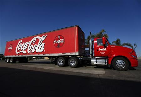 Coca-Cola truck fills up with diesel fuel at a gas station in Carlsbad California