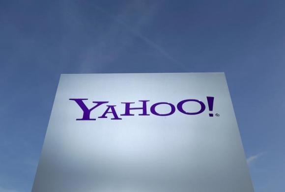 Yahoo logo is pictured in front of a building in Rolle