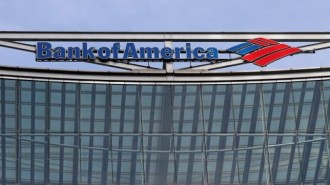 The Bank of America logo is seen at their offices at Canary Wharf financial district in London