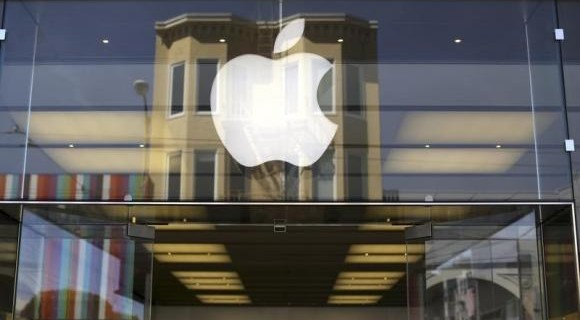 Apple logo is pictured on the front of a retail store in the Marina neighborhood in San Francisco