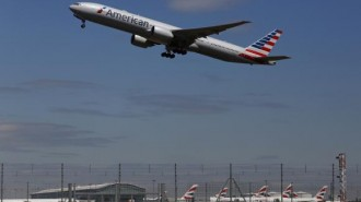 American Airlines airplane takes off from Heathrow airport in London