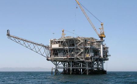 oil platform in sea