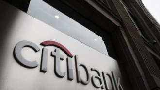 Citibank logo is seen at the facade of a Citibank building in New York