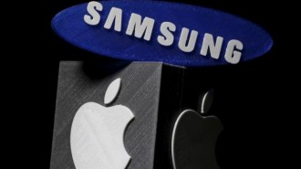 3D-printed Samsung and Apple logos are seen in this picture illustration made in Zenica