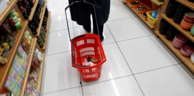 A woman pulls a shopping cart inside a shop where all products are sold at the price of one euro in Athens