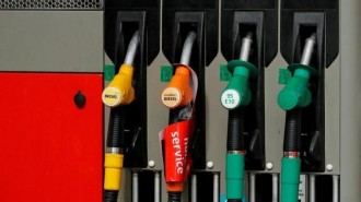View of gasoline pumps at a petrol station in Paris