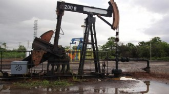 An oil pump is seen in Lagunillas