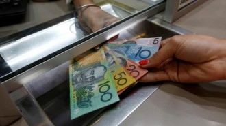 Australian dollar denominations shown in a photo illustration at a currency exchange in Sydney