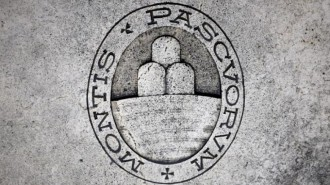 A logo of Monte dei Paschi di Siena bank is seen on the ground in Siena