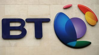 The British Telecom logo is pictured in